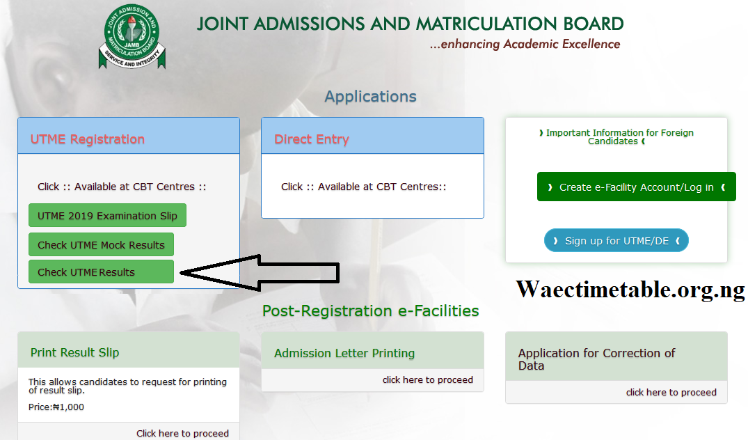 check jamb result 2019
